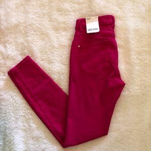 Zara Basic Denim Jeans Bright Pink NWT